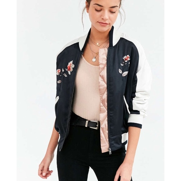 d9627ebf4 Urban Outfitters Floral Satin Bomber Jacket